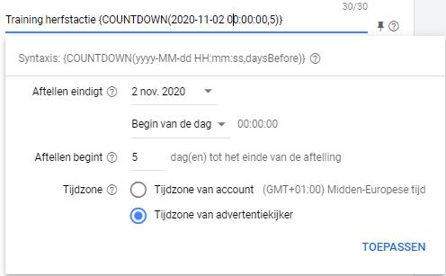 countdown timer google ads